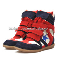 2014 lasted design hidden lady wedge casual shoes for girls with high quality