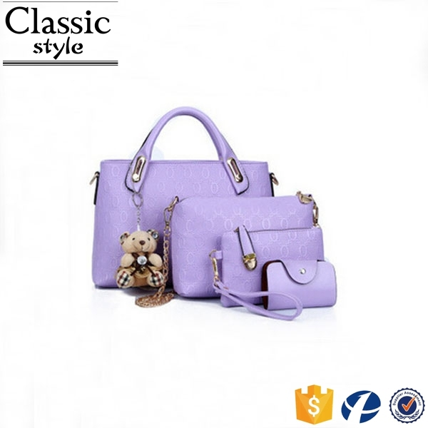 CR 80% customer repeat order new arrival elegant women bag with bear purple color 4pcs bag set all handbag fashion