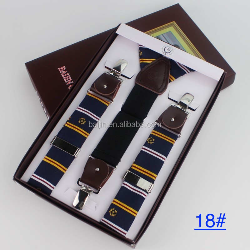 3.5 Jacquard Classic Men Lady Elastic Clip-on Brace Suspenders