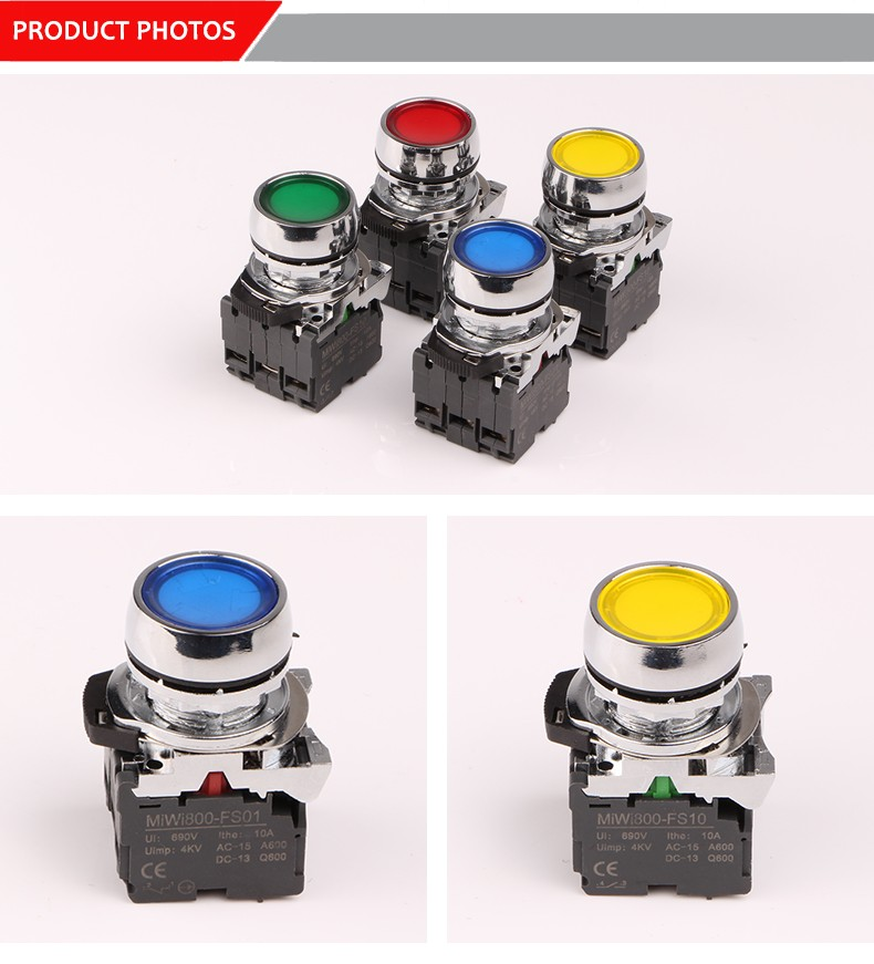 MiWi-800-FJ-ADP5 New design push button switch with yellow led light