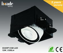 Hot Design Die Cast Aluminum12W COB Trimless Adjustable Recessed LED Grille Light Downlight