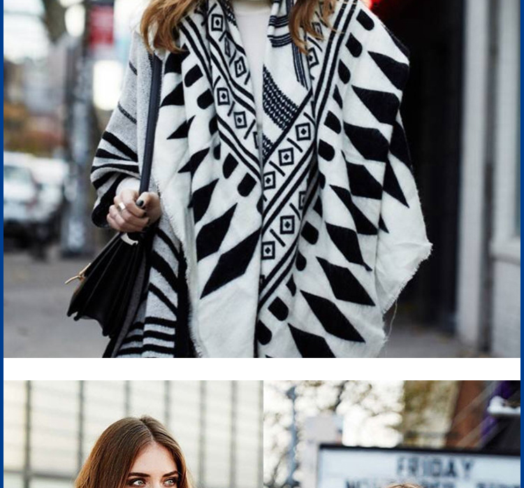 Z New Design Square Scarves Kerchief Printed Geometry Pattern Knitted Shawl