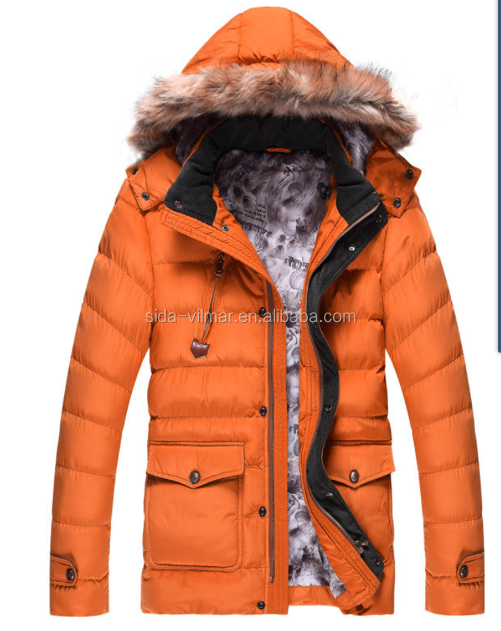 fashionable man winter polyester padding jacket with knit hat