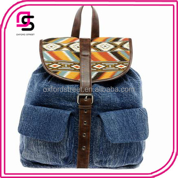 Denim Canvas Bag with Aztec Trim Flap Backpack Made in China