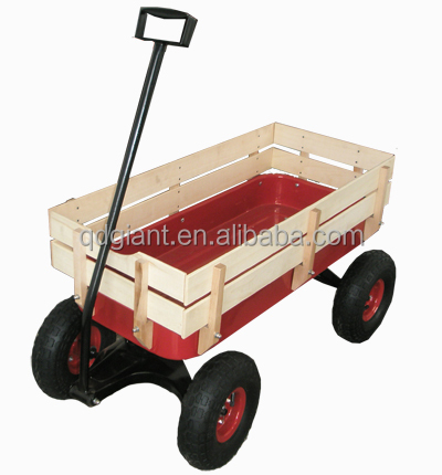 wooden kids wagon family children garden cart beach cart buggy