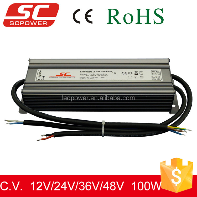 KV-24100-A-DIM 0/1-10V dimmable constant voltage strip led driver 100W 4.15A 24V