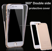 360 degrees Full cover case front and back TPU for iphone6s 6Plus Samsung Transparent anti break soft silicon phone case