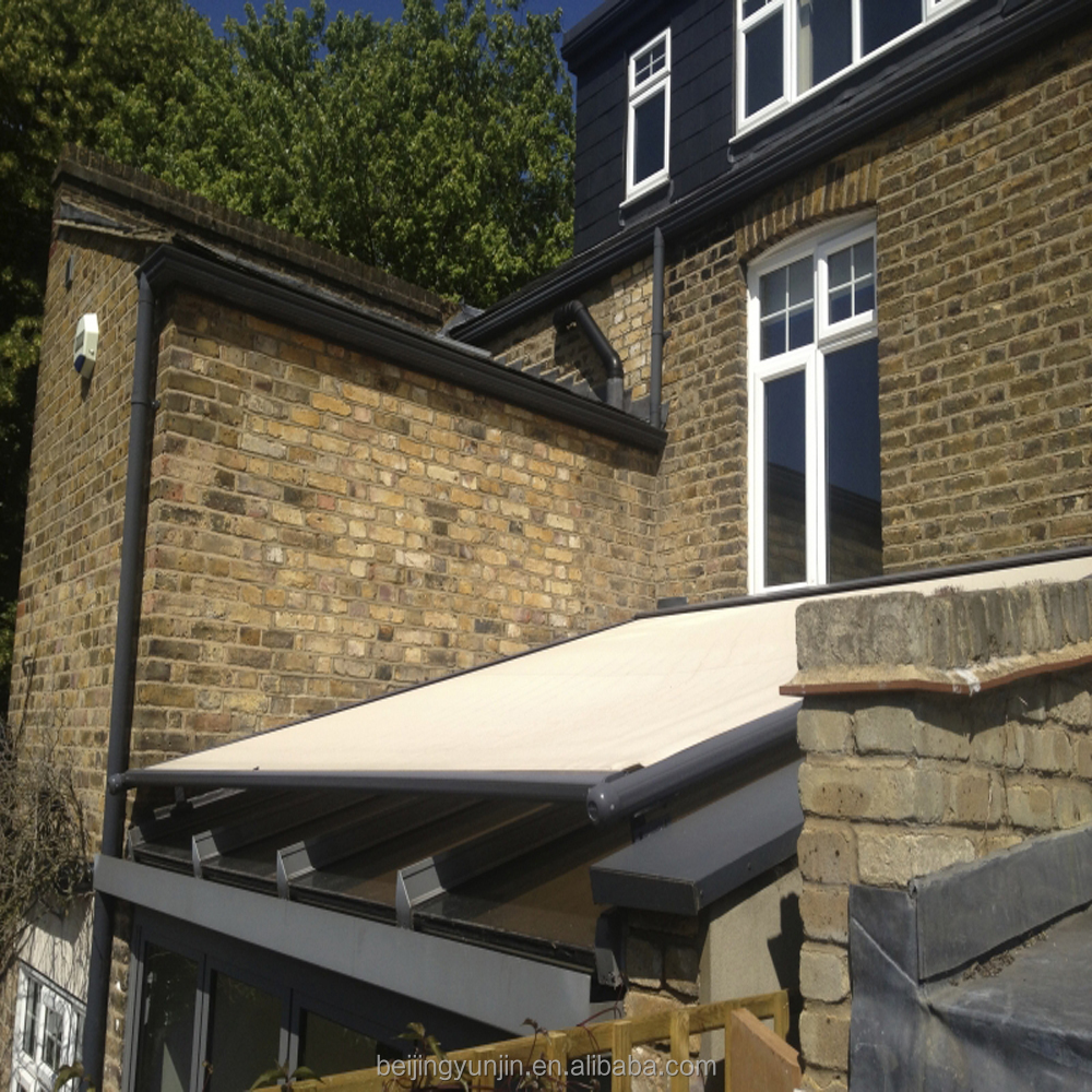 Aluminium retractable conservatory roof awning system