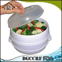 Classic Food grade Plastic 2 Tier Microwave Steamer Food Cooker Container