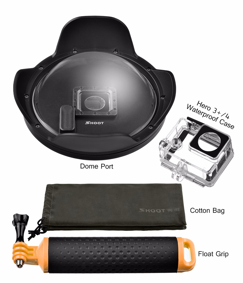 6 inch SHOOT Dome for GoPro with Sun Hood Waterproof Case for GoPro Hero 4 Black Silver XTGP320