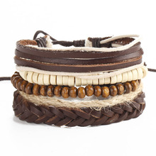 L0022 Factory Price Adjustable Multilayer Diy Wood Beads Vintage Brown Leather Bracelets for Men