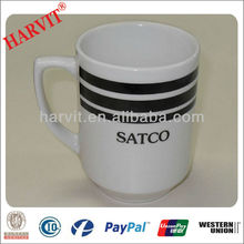 Handmade Ceramic Stoneware Cheap SATCO Cup Wholesale/Plain White Black Color Line Drinkware Mug With Horn Handle