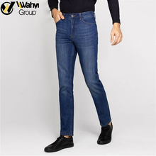 Men Fashion Casual Pants Classic Whiskering Straight Relaxed Fit Straight-Leg Denim Jeans