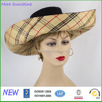 wholesale fashion checked striped womens straw hat custom