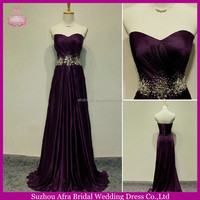 SW582 afforable beaded waistline dark purple celebrity evening dresses 2014