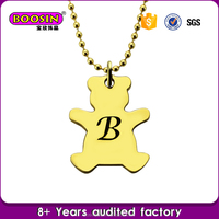 Wholesale Personalized Bear Initial Necklace, Font B Monogram Bear Charm Necklace