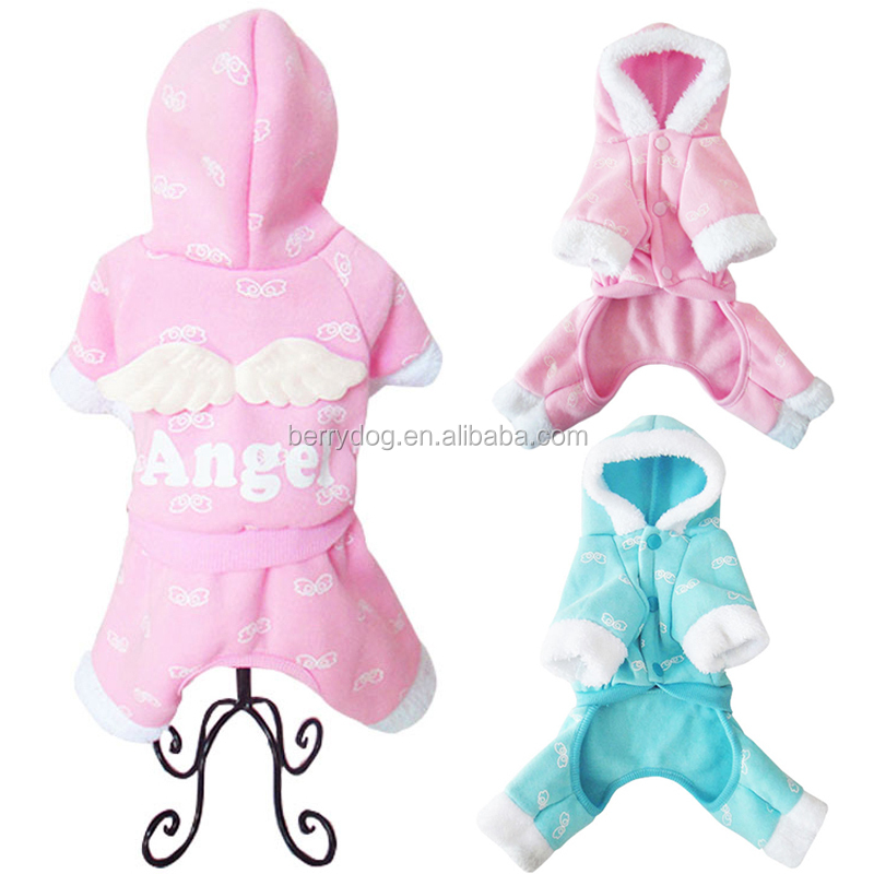 Berry S M L XL Four Legs Dog Thicken Winter Clothes With Angle Wings