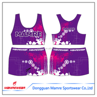 Custom Wholesale dye sublimated bra and shorts , cheerleading uniforms all star practice wear