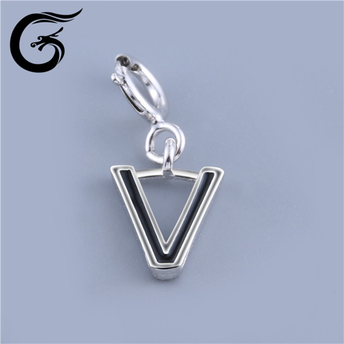 New letter V design fashion accessories 925 silver accessories charms