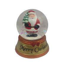 Christmas Santa Clause Glass Snow Globe with Resin Base