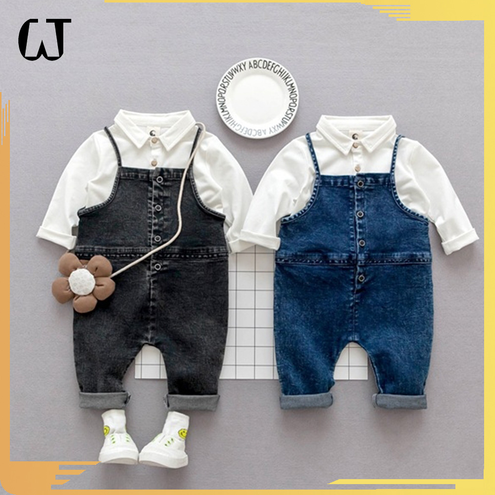 F3702#new product fashion nova clothing baby clothes Cowboy denim rompers jeans kids boys clothing wholesale