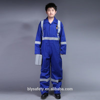 Safety long sleeve customized coveralls overall uniform work wear with reflective tape boiler suit