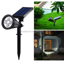 2017 New Design Solar Spotlight 4 Led Wireless Solar Wall light Outdoor Garden Spike Spot Light for Path Lawn Landscape
