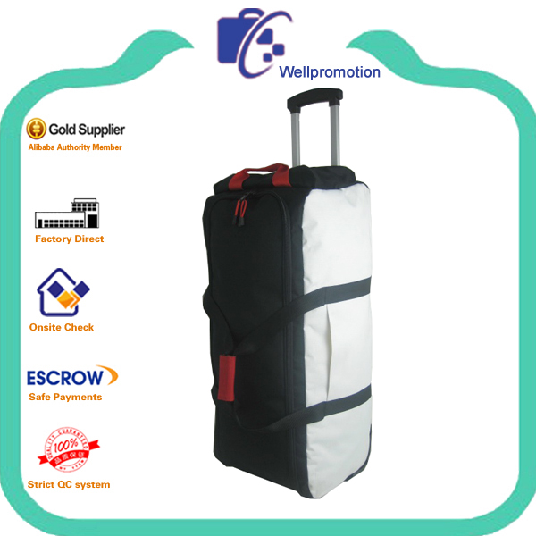 Extra large polyester travel trolley duffle bag with two wheels