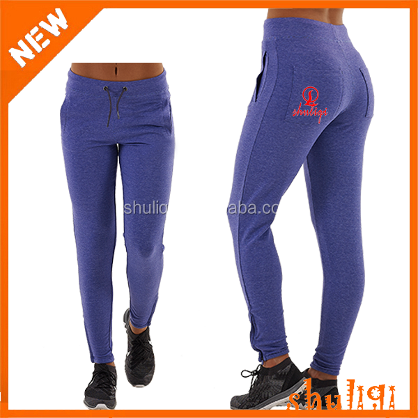 100% Combed french terry fleece Slim Fit joggers women, custom gym jogging suits for women