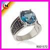 Wholesle Black Diamond Big Hand 12mm Wedding Bands Jewellery Sky Blue Diamond Ring For Men