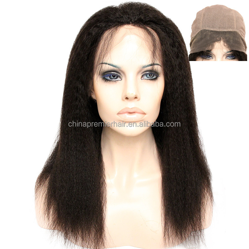 Kinky Straight Natural Color Virgin Malaysian Hair Full Lace Wig with full silk base at front