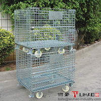 Wire Container, Wire Mesh Cage Type and Heavy Duty Scale transport folding cart