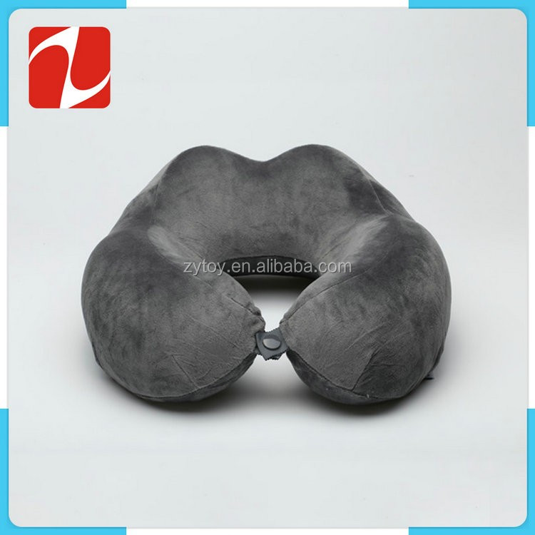 Custom made soft plush material u shape personalized memory foam travel neck pillow
