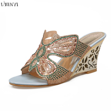LXUNYI 2018 latest design women blend material platform wedge EVA high heel ladies slippers
