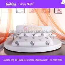 White Color Leather Round bed for KIDS