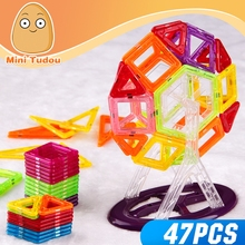 MiniTudou 47pcs 3D ABS Magnetic Plastic Building Toys DIY Big Building Blocks For Kids