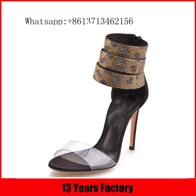 Luxurious elegant beautiful zipper ornament plastic and genuine leather material heel sex diamond high heel sandals