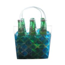 PVC gel ice wine cooler bag for keeping 6 bottle beer