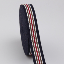 38mm striped cotton webbing belt