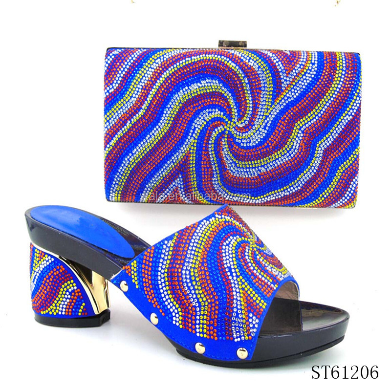ST61206- (1) Nigeria style bruno giordano italian flat shoe and bag set for Christmas party