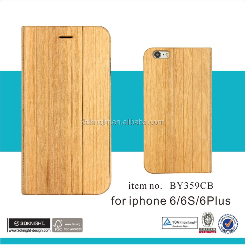 Mobile phone wooden bamboo wallet flip case for iPhone 6 6s