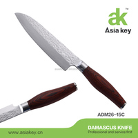 Fashion Damascus steel Japanese chef knife with wooden handle and hammered surface