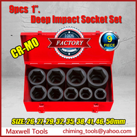 High Quality CR-MO Material 9PC 1 inch Drive Metric Torque Limiting Deep Impact Socket Set For Heavry Duty Truck Repair Tools