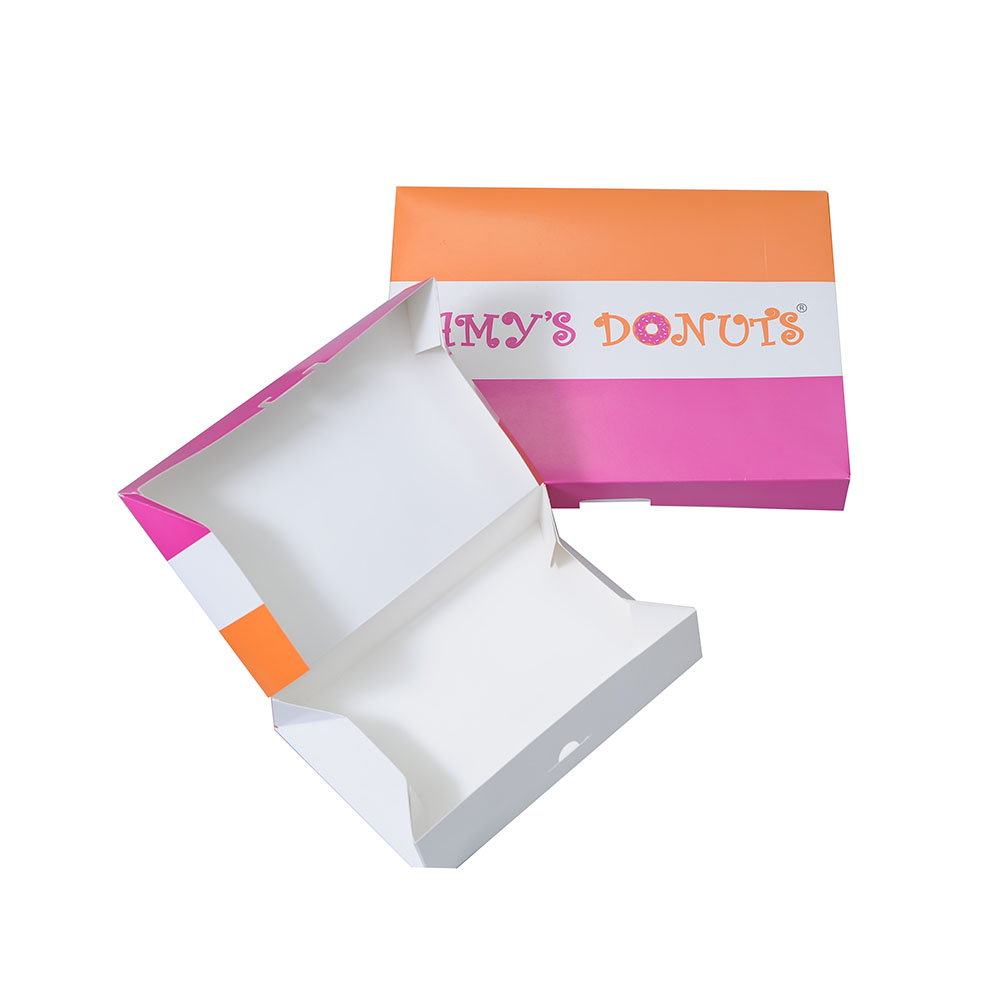 Litho printing foldable cardboard food paper box for donut packaging