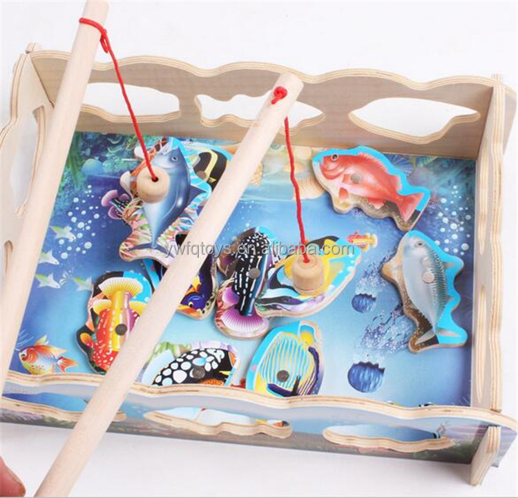 FQ brand hot sell the kitten fishing parent-child colored magnetic wooden toys fishing toys