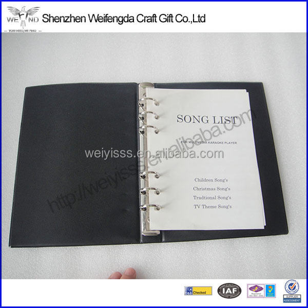 Promotion Black Unique Cheap Personalized PU A5 Leather Binder Notebook
