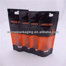 Durable stand up printed flat bottom packaging with valve plastic bag for coffee