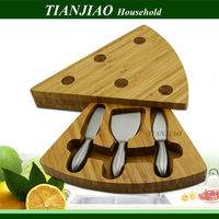 Professional manufacturer bamboo & wood products triangle shape cheese box cheese board cheese knives with cutting board tools