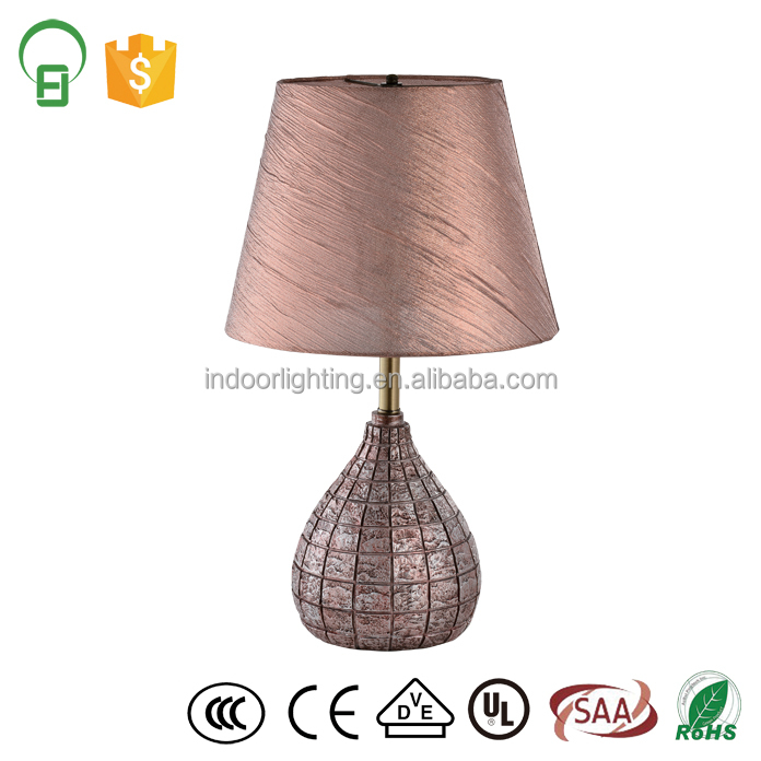 rose gold fabric shade modern resin bedside table lamp