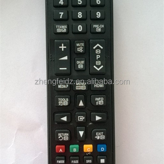 High Quality Black 44 Keys LED TV Remote Control for SAMSUNG LCD TV with Long thin Battery Box 2*AAA 1.5V Battery 2015 ZF \
